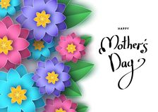 Happy mother`s day banner  with colorful paper cut  flowers,  le. Happy mother`s day banner  with colorful paper cut  flowers, hand-drawn  lettering. Summer or Stock Images