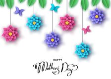 Happy mother`s day banner with hanging  paper cut  flowers, butt. Erflies and  lettering. Summer or spring   season floral colorful background  for greeting card Royalty Free Stock Image