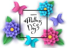 Happy mother`s day banner  with paper abstract  flowers, butterf. Happy mother`s day banner template with paper abstract  flowers, butterflies, lettering. Summer Stock Images