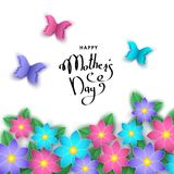 Happy mother`s day banner with paper cut  flowers, butterflies. Happy mother`s day banner template with paper cut  flowers, butterflies, lettering. Summer or Royalty Free Stock Photography