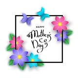 Happy mother`s day banner  with paper  flowers, lettering. Happy mother`s day banner  with paper  flowers, butterflies, lettering. Summer or spring   season Stock Photo