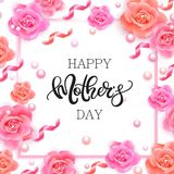 Happy mother`s day banner with pink roses Stock Photo