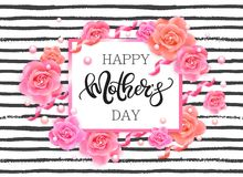Happy mother`s day banner with pink roses Royalty Free Stock Photo