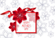Happy mother's Day banner with red flowers and silk ribbon Stock Photography