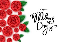 Happy mother`s day banner  with red roses, hand-drawn lettering. Happy mother`s day banner template with red roses, hand-drawn lettering.  Flowers for greeting Stock Photo