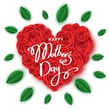 Happy mother`s day banner template with heart  of red roses. Happy mother`s day banner template with heart  of red roses, hand-drawn lettering.  Flowers for Royalty Free Stock Photos