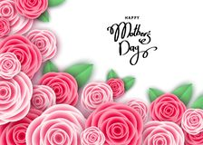 Happy mother`s day banner template with pink  roses. Happy mother`s day banner template with roses, lettering.  Pink flowers for cards,  posters, voucher Stock Photos
