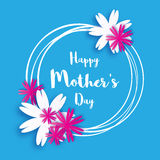 Happy Mother's Day. Blue Floral Greeting card. International Women's Day. Royalty Free Stock Images