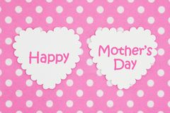 Happy Mother`s Day on bright pink and white polka dot fabric royalty free illustration