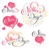 Happy Mother`s Day Calligraphy with hearts isolated on white Background. Images for your design projects Stock Illustration