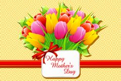 Happy Mother's Day Card. Illustration of bunch of tulip with card wishing happy mother's day Royalty Free Stock Photo