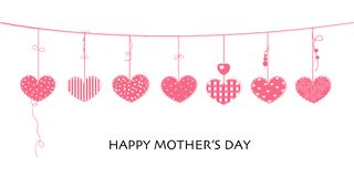 Happy Mother`s day card with border design hanging pink hearts vector illustration