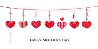 Happy Mother`s day card with border design hanging red hearts stock illustration