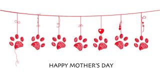 Happy Mother`s day card with border design hanging red paw prints royalty free illustration