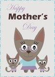Happy mother's day card cat and kittens Stock Images