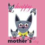 Happy mother's day card cat and kittens Stock Photography
