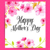 Happy Mother's Day card with cherry blossom Stock Images