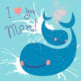 Happy Mother's Day. Card with cute whales. Stock Images