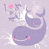 Happy Mother's Day. Card with cute whales. Royalty Free Stock Photography