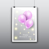 Happy Mother`s Day card design with balloons Royalty Free Stock Photo
