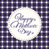 Happy mother's day card, embroidered letters. Royalty Free Stock Photo