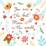 Happy Mother's Day card with flowers and birds Royalty Free Stock Photo
