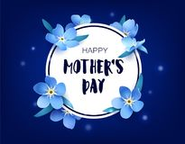 Happy Mother`s day card with forget-me-not and flares on dark background. Vector floral banner.  royalty free illustration