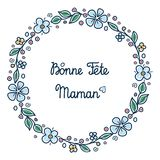 Happy mother`s day card in French. Happy mother`s day greeting card in French. English translation: happy Mother`s day.  Bonne Fete Maman. Greeting card Royalty Free Stock Photos