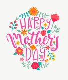 Happy Mother`s Day Card, Handdrawn Lettering. Stock Images
