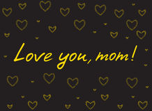 Happy mother`s day card with handlettering and mosaic hearts. gold on black background. Love you mom. vector illustration Stock Photo
