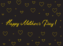 Happy mother`s day card with handlettering and mosaic hearts. gold on black background. Vector illustration Royalty Free Stock Photo