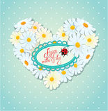Happy Mother's Day card. Heart is made of daisies Royalty Free Stock Images