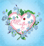 Happy Mother's Day card. Heart is made of lace Stock Image