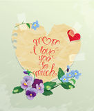 Happy Mother's Day card. Heart is made of old paper with daisy a Stock Photo
