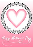 Happy mother's day card with heart in ornamental frame in pink design Stock Photography
