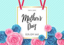 Happy Mother`s day Card layout design with Flowers background. Happy Mother`s day Card layout design with Roses,Lettering,Ribbon,Frame and Flowers background Stock Images