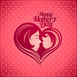 Happy Mother's Day card with mother and child silhouette. Royalty Free Stock Photography