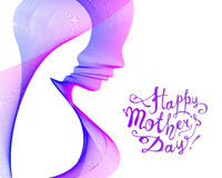 Happy Mother`s Day card. Mother and her child. Happy Mother`s Day vector card. Linear silhouette of a mother and her child Royalty Free Stock Photos