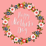 Happy Mother's Day card with pink background.Vector Stock Image