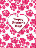 Happy Mother's Day card with pink sakura flowers. Vector illustration stock illustration