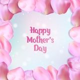Happy mother`s day card with rose petals. Happy Mother`s Day card. Frame of pink rose petals, vector illustration Royalty Free Stock Images