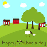 Happy Mother`s day card with sheep and lamb on farm. Rural landscape with farm, trees, hills, sheep and lamb standing opposite one another  on green background Royalty Free Stock Photography