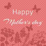 Happy Mother's Day Card. Happy Mother's Day  Card with silhouettes of flowers and butterflies. Spotted background. Vector illustration Stock Photography