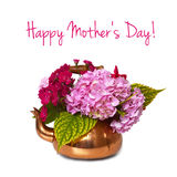 Happy Mother's day. Card: Spring flowers arrangement stock image