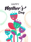 Happy Mother`s Day card with Tulips Flowers in naive ethnic styl. E. Cute spring background template. Vector illustration EPS 10 file Royalty Free Stock Image