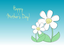 Happy Mother's Day Card. Vector card with text and children's drawings of flowers Royalty Free Stock Image