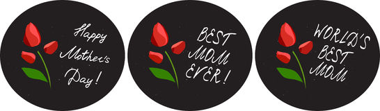 Happy mother`s day cards set with flowers and handlettering elements  on chalkboard background. tulip. Vector illustration Royalty Free Stock Images