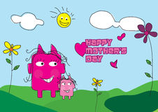 Happy mother's day cartoon characters Royalty Free Stock Photo