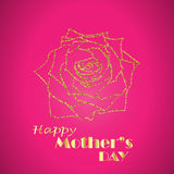 Happy Mother`s Day celebration concept with golden rose on a pink background. Vector illustration for cards, banners. Web Royalty Free Stock Photography