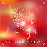 Happy Mother`s Day celebration concept with golden rose on a red bokeh background. Vector illustration for cards. Banners, web Stock Photos